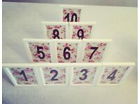 Handmade Rose Print Table Numbers