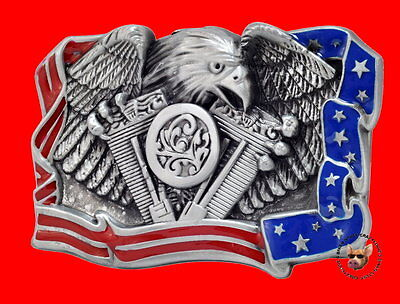 V TWIN AMERICAN EAGLE MOTORCYCLE BELT BUCKLE USA RED WHITE AND BLUE