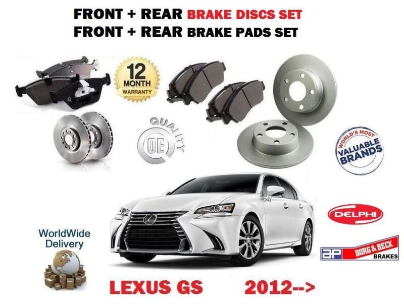 FOR LEXUS GS250 GS300H HYBRID 2012-> FRONT + REAR BRAKE DISC SET + DISC PADS KIT