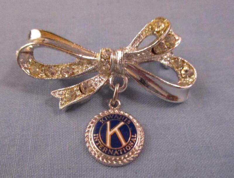 Vintage Kiwanis International Bow Charm Rhinestone Pin Brooch Silver Perfect!