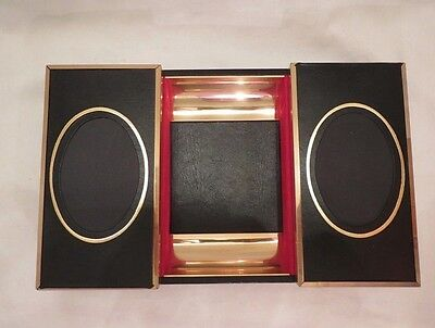 Swank Gold Black Leather Velvet Jewelry Box Photo Inserts GREAT SHAPE VINTAGE
