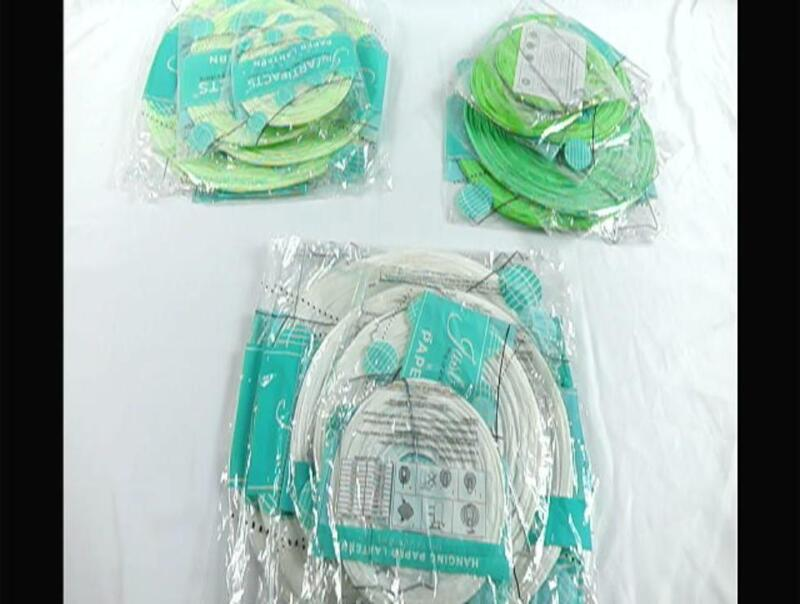 Just Artifacts 18pcs Assorted Size Round Decorative Paper Lanterns (Greens & Whi