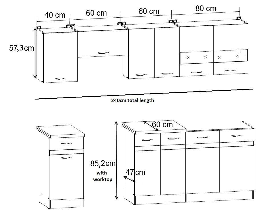Junona New Complete Kitchen Set 7 Units Cabinets White High Gloss