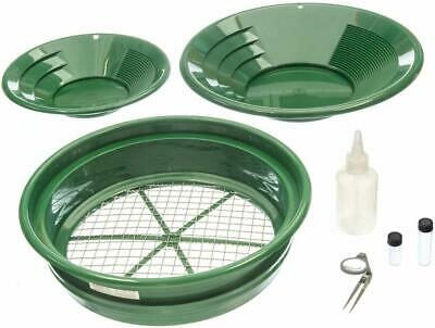 7pc Prospecting Gold Panning Kit Gold Pans Sifting Pan Classifiers More
