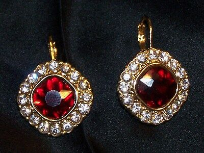 Monet Red Rhinestone Earrings-Christmas Red, Clear Stone-Signed Monet-New