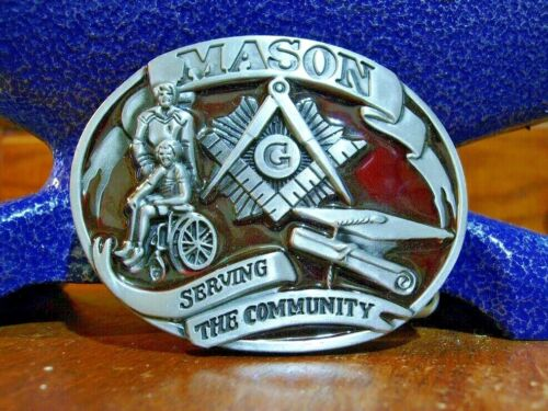 Masonic belt buckle Mason Red and pewter Free Shipping in USA