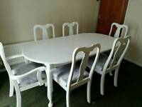 Vintage shabby chic table and 6 chairs