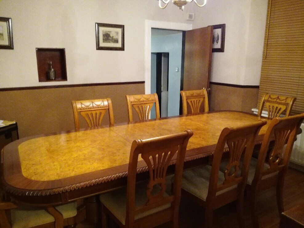 Price Reduction Good Condition Reproduction Yew Dining Room Table And