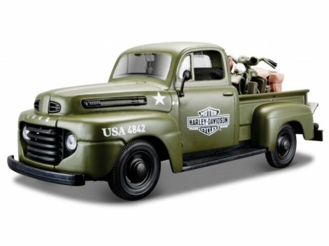 Harley Davidson, 1948 Ford F-1 Pick Up Army green, Maisto Car Model 1:24