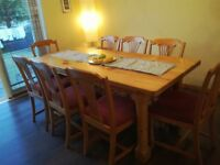 Large family Dining room table & 8 chairs