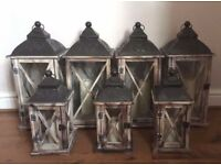 7 Wooden Lanterns & Candles - Wedding Decoration Shabby Chic Rustic Home Garden