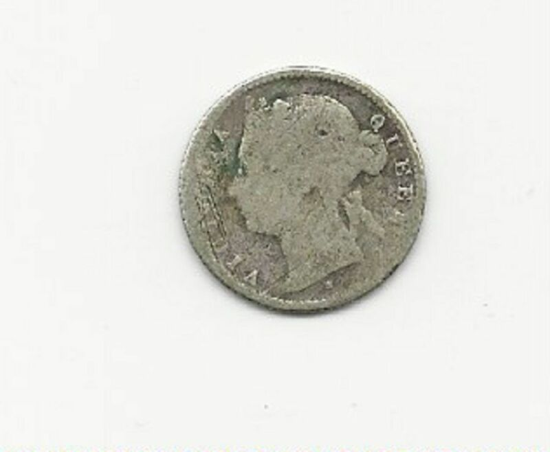 MAURITIUS TWENTY CENTS 1877 SILVER COIN GOOD CONDITION FREE USA SHIPPING