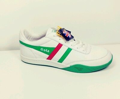 Gola Mens Classic Shoes (Gola Harrier Classic Mens White Green Red Leather Sneakers British Sports NEW )