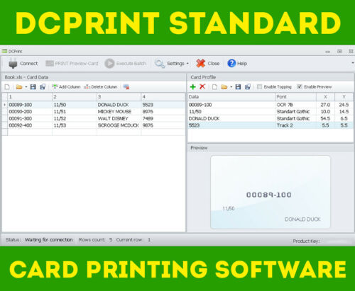 DCPRINT STANDARD Card Software for Datacard Embossers 150i 275 280 295