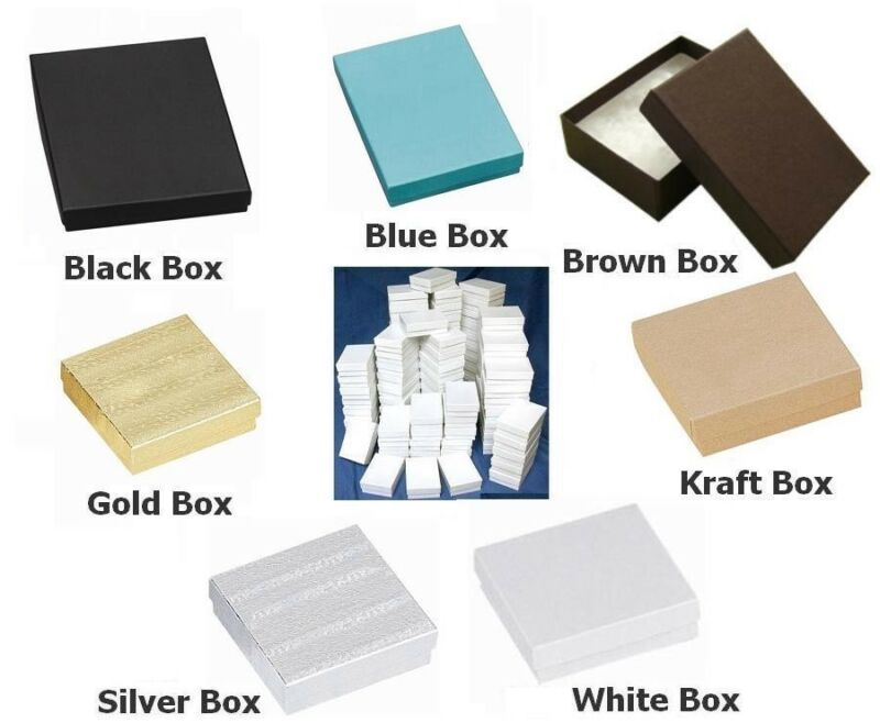"""100 Cotton Filled Boxes 3.5""""x3.5""""x 1"""" for Gifts, Jewelry, etc. You Choose Color."""