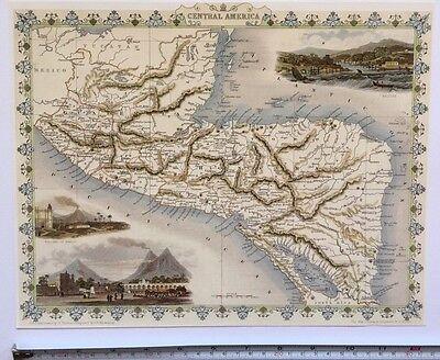 """Antique vintage colour map 1800s: Central America: Tallis 13 X 9"""" Reprint"""