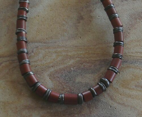 "Unique Vintage Native American Pipestone Sterling Silver Bead Necklace 16"""