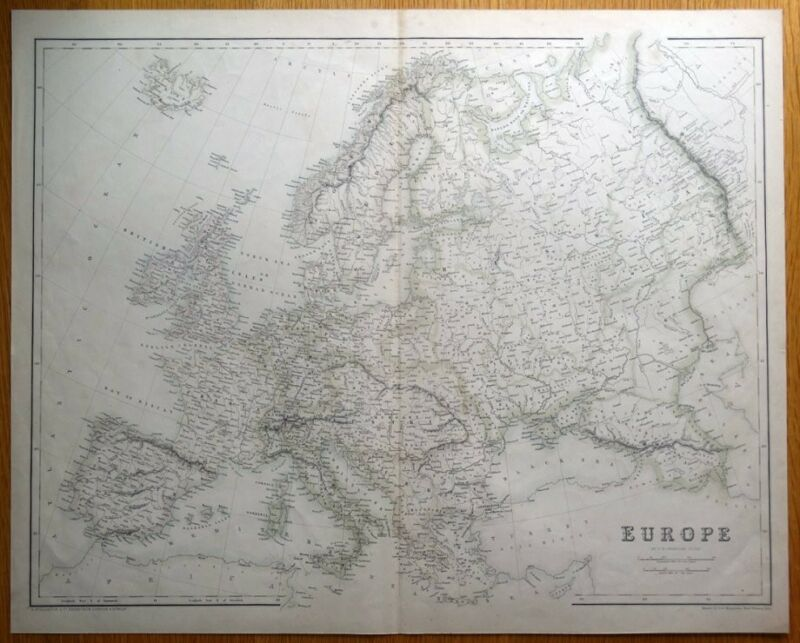 EUROPE, Fullarton original antique map c1860
