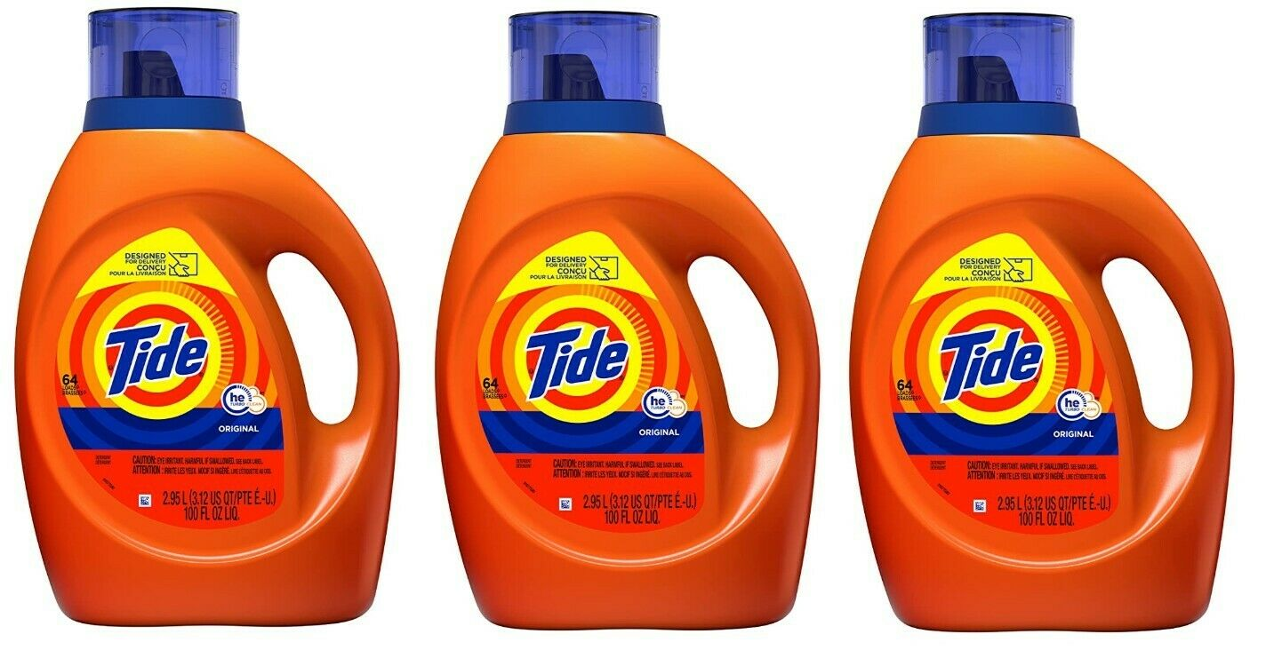 3 Of Tide Laundry Detergent Liquid, Original Scent, HE Turbo Clean, 64 Loads Ea. - $49.99