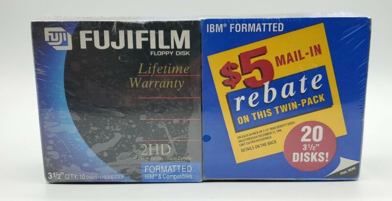 "Lot of 2 10-Pack Fujifilm Floppy Disk 1.44MB 2HD 3.5"" Formatted IBM Sealed"