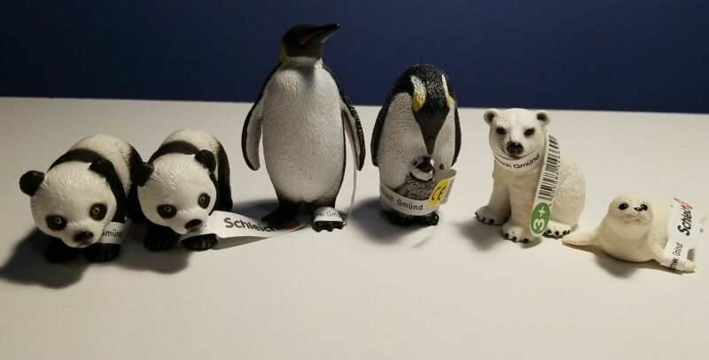 New RETIRED (6) Schleich Animals, PENGUINS, PANDA, SEAL & POLAR BEAR CUBS