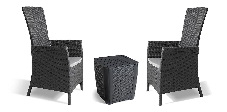 Garden Furniture - Allibert by Keter Vermont Rattan Reclining Duo Coffee Outdoor Garden Furniture