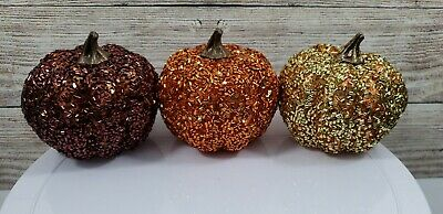 Glitter Pumpkins Fall Thanksgiving Home Decoration Orange Gold Brown Table Top