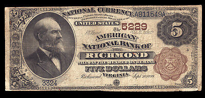 5 1882 American National Bank Of Richmond Ch 5229 Tough Brown Back For Virginia