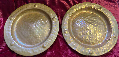 A Pair Of Arts & Crafts Hammered Copper Wall Chargers Plates With Hanging Hooks