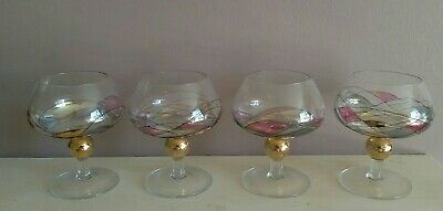 Four Mouth Blown Vintage Romania Milano Hand Painted Mosaic Gin Glasses