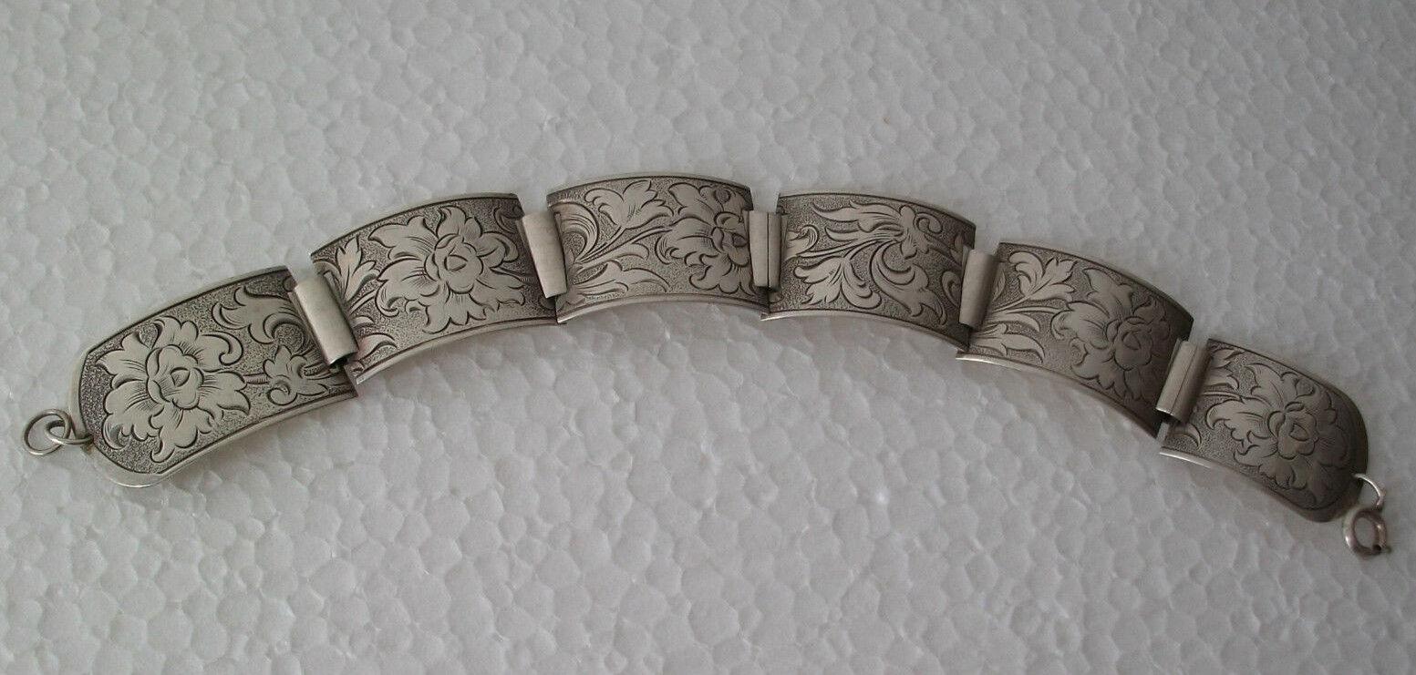 Altes Silberarmband Armband Silber 835 florale Motive ca. 19,5 cm