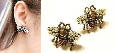 AUTH GUCCI CLASSIC BEE VINTAGE GOLD TONE CRYSTAL ENAMELED STUD EARRINGS