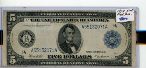 FR-847a  1914 Series $5  Boston Federal Reserve Note #071