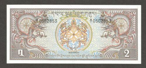 Bhutan 2 Ngultrum N.D. (1978); UNC; P-6; L-B106a; Simotokha Dzong Palace