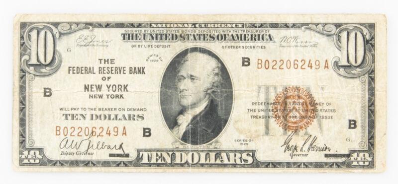 1929 $10 National Currency NEW YORK USA Brown Seal NY Hamilton