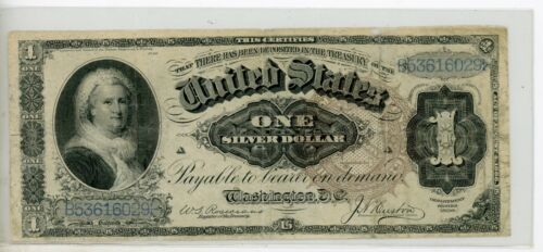 "US 1886 $1 ""Martha"" Silver Certificate FR 219 # 0291"