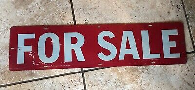 "Vintage Double Sided Metal Realtor For Sale Sign 24"" by 6"""