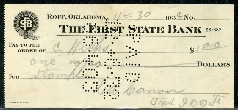 US FIRST STATE BANK OF ROFF, OKLAHOMA CANCELLED CHECK 11/30/1930