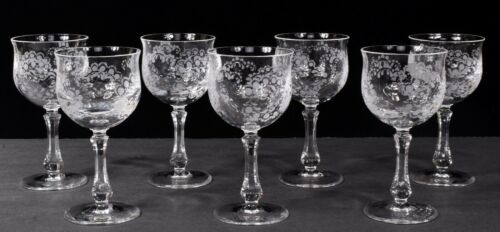 Set (7) ROSENTHAL SANSOUCCI  6oz Etched Crystal Stemmed Wine Glass Glasses