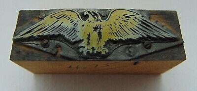 Vintage Printing Letterpress Printers Block Eagle Wings Out Bird