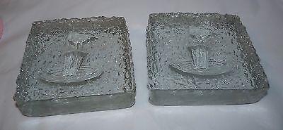 """Pair Glass Block Bird Feeder Design 5"""" Square x 1.5"""" Deep Bookend/Paper Weight"""