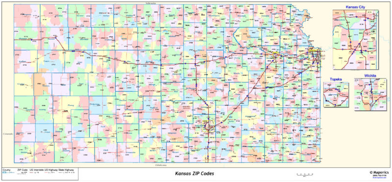 Kansas State Zipcode Laminated Wall Map
