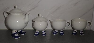 Carlton Walking Ware Sugar Basin Milk Jug Tea Pot & Cup Blue Shoes Spotty Socks