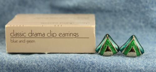 """Vintage 1984 Avon """"Classic Drama"""" Blue and Green Enamel Triangle Clip Earrings"""