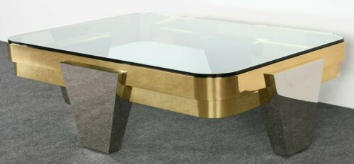 """Lorin Marsh """"Apollo"""" Chrome and Brass Coffee Cocktail Table, 1980s"""