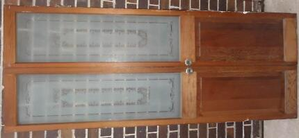 French doors, cedar, with eched glass and brass fittings Ashfield Ashfield Area Preview