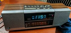 Vintage GE 7-4945AFM Stereo Electronic Digital Alarm Clock Radio Woodgrain