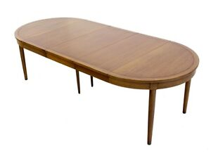 Mid Century Danish Modern Round Walnut Dining Conference Table W 3 Leaves EBay
