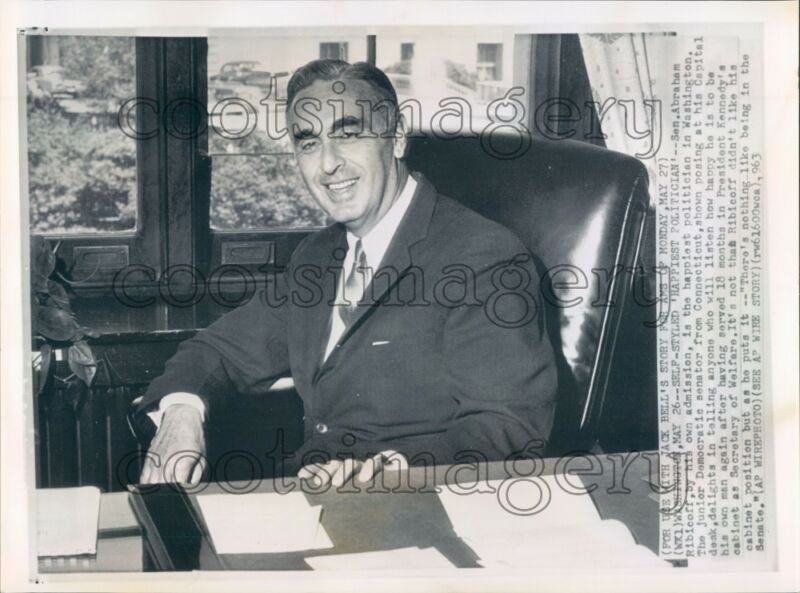 1963 US Senator Abraham Ribicoff of Connecticut at His Desk Press Photo