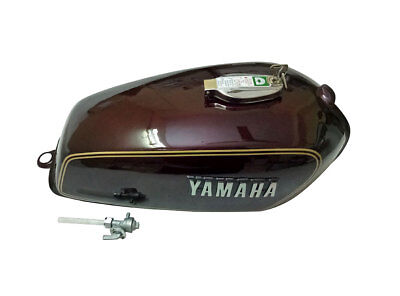Petrol Fuel Gas Tank Steel Maroon With Chrome LID Cap Yamaha RX100 RX125